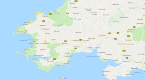 Een kaar voor wie gaat wandelen over het Pembrokeshire Coast Path